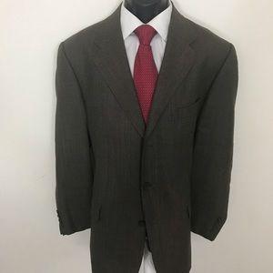 Claiborne 44R Pure Wool Brown Plaid Blazer